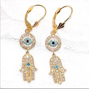 14k pure yellow gold hamsa evil eye earrings